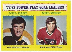 1973-74 Topps POWER PLAY LEADERS Card #6: Phil Esposito & Rick MacLeish - EX+