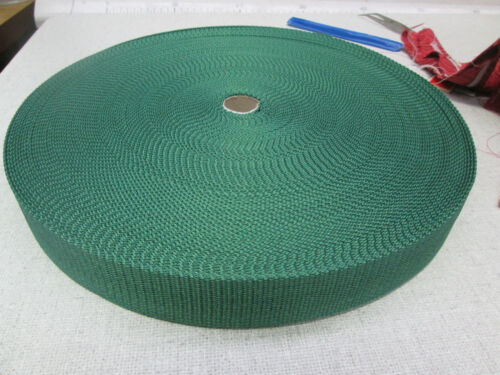 "1 50mtr ROLL 38mm 112"" POLYPROPOLENE WEBBING BOTTLE GREEN"