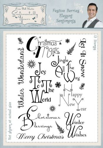 Festive Berries Elegant Sentiments A5 Clear Stamp Set by Phill Martin SYFBES