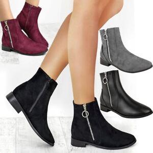 Womens Ladies Flat Low Heel Chelsea
