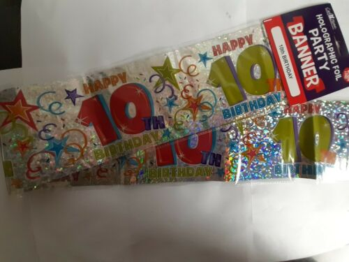 Party Banner Happy 10th Birthday.holographic Foil Banner 2.6m Long.