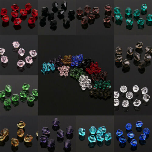 Wholesale 3mm//4mm//6mm//8mm Bicone Faceted Crystal Glass Loose Spacer Beads Lot do