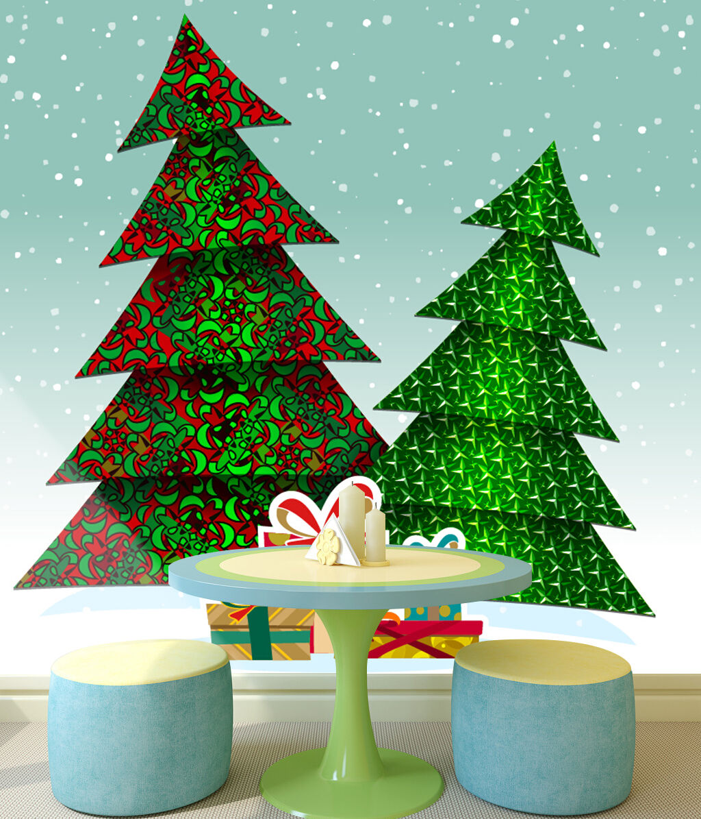 3D Zwei Weihnachtsbäume 633 Fototapeten Wandbild BildTapete Familie DE