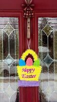Happy Easter Egg Basket Bunny Door Wreath Wall Hanging Decor Swag Floral Pick