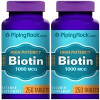 High Potency Biotin 1000mg Dietary Supplement 500 Tablets 2 Bottles Lot