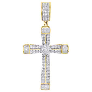 Fine Jewelry Fine Necklaces & Pendants Confident 10k Yellow Gold Cross Anchor Pendant Pave Diamond Mens Womens Charm A Wide Selection Of Colours And Designs