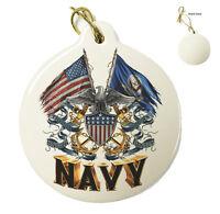 Navy- Double Flag Eagle Navy Shield - Christmas Xmas Tree Porcelain Ornaments