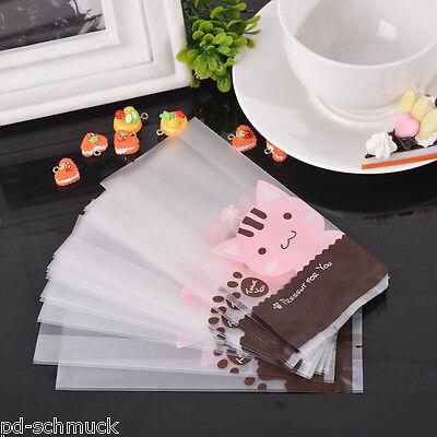 Pd:50 Rosa Plastikbeutel Tüten Flachbeutel Folienbeutel Katze 11.5x7x2.5cm