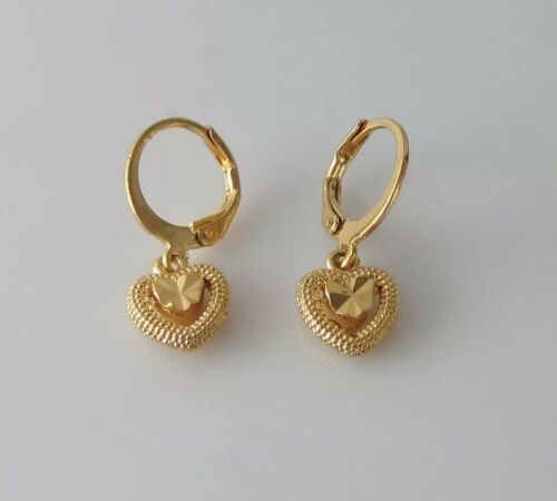 Charming yellow gold plated double heart shape drop dangle earrings