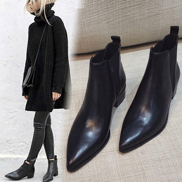 New Women Pointed Toe Black Ankle Riding Chelsea Boots Med Block Heels Shoes