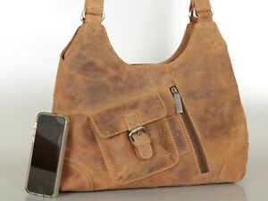 Greenburry-Leder-Schultertasche-Damen-Shopper-Vintage-Original-1917-25-braun