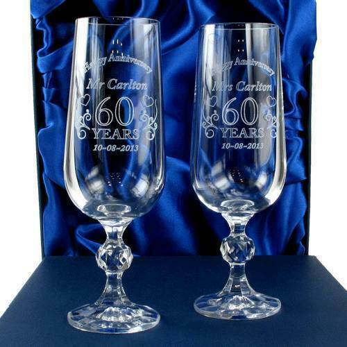 Engraved Wedding Anniversary Crystal Champagne Flutes Anniversary gift