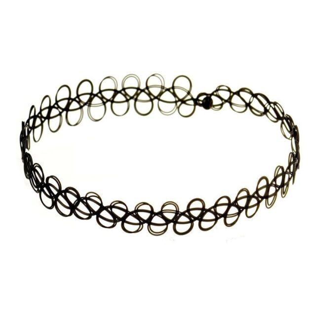 Hot SALE Tattoo Choker Stretch Necklace Black Retro Henna Elastic 80 90s Jewelry