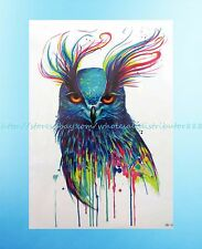 """blue cool owl 8.25""""extra large temporary arm tattoo Stick on Tattoos for Adults"""