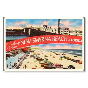 New Smyrna Beach Florida fl Postcard Metal Sign Wall Decor STEEL not tin 36x24