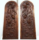 HAND CARVED WOOD PANEL MATCHED PAIR ANTIQUE FRENCH GOTHIC SALVAGED CARVING 19th