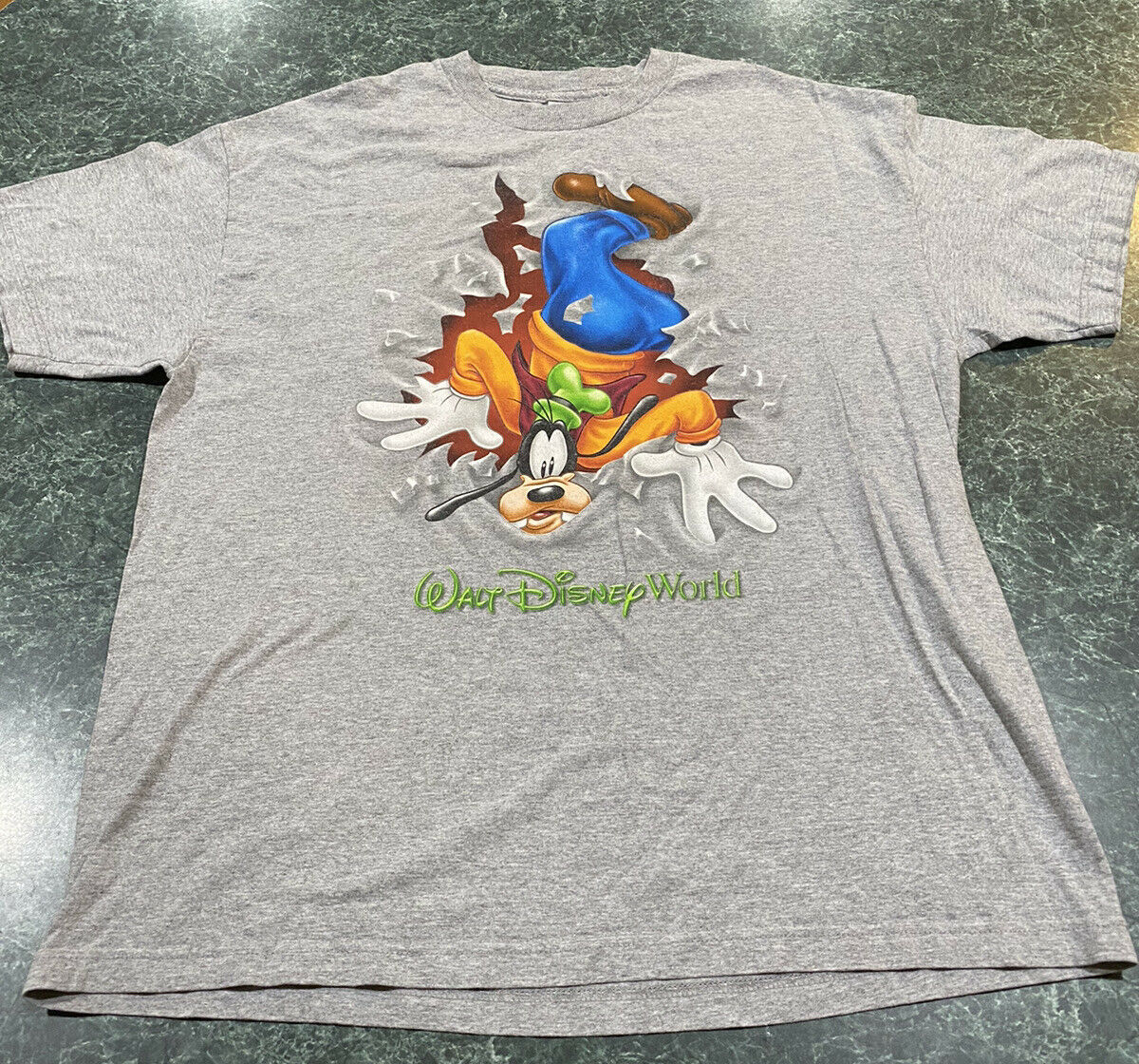 Vintage 90s Walt Disney World Goofy Double Sided Gray T-Shirt Size Large