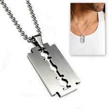 STAINLESS STEEL RAZOR BLADE PENDANT NECKLACE 50cm Chain Silver Charm Men Dog Tag