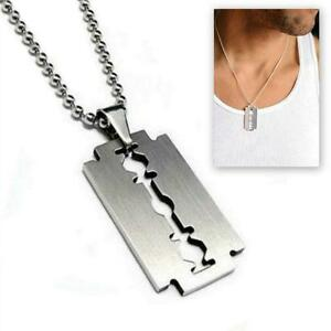 Stainless steel razor blade pendant necklace 50cm chain silver charm image is loading stainless steel razor blade pendant necklace 50cm chain thecheapjerseys Image collections