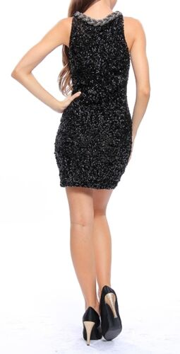 UK size 8//10,12//14 Rope Neck Black Sequined Short Party Prom Dress Gown NEW