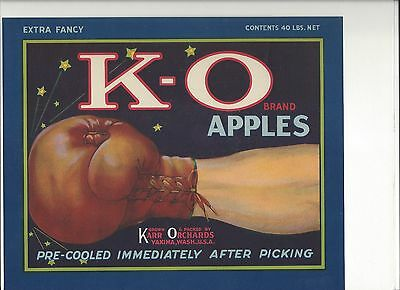 1920's K-O BOXING GLOVES APPLES Citrus Crate Label 1920s Unused Vintage Original