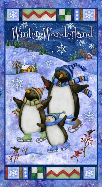 Winter Wonderland Penguin Panel Cotton Quilting Fabric - 60cm x 110cm