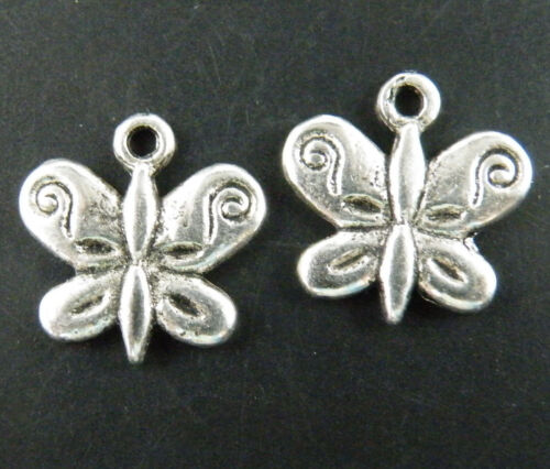 """75pcs Tibetan Silver /""""created for you/"""" Butterfly Charms 13x13mm 563"""