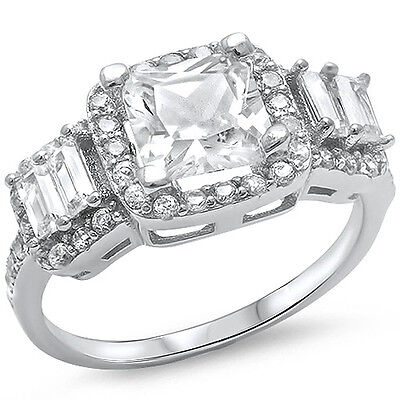 3ct Princess & Radiant Cut CZ Engagement  .925 Sterling Silver Ring Sizes 5-10