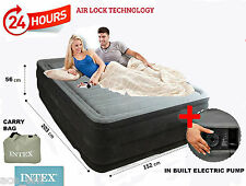 Intex Air Bed With Comfort Plush Elevated Double Bed With In Built Electric Pump