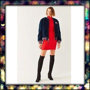 Tommy Hilfiger Womens Navy Blue Wool Varsity Bomber Jacket Size L Ebay