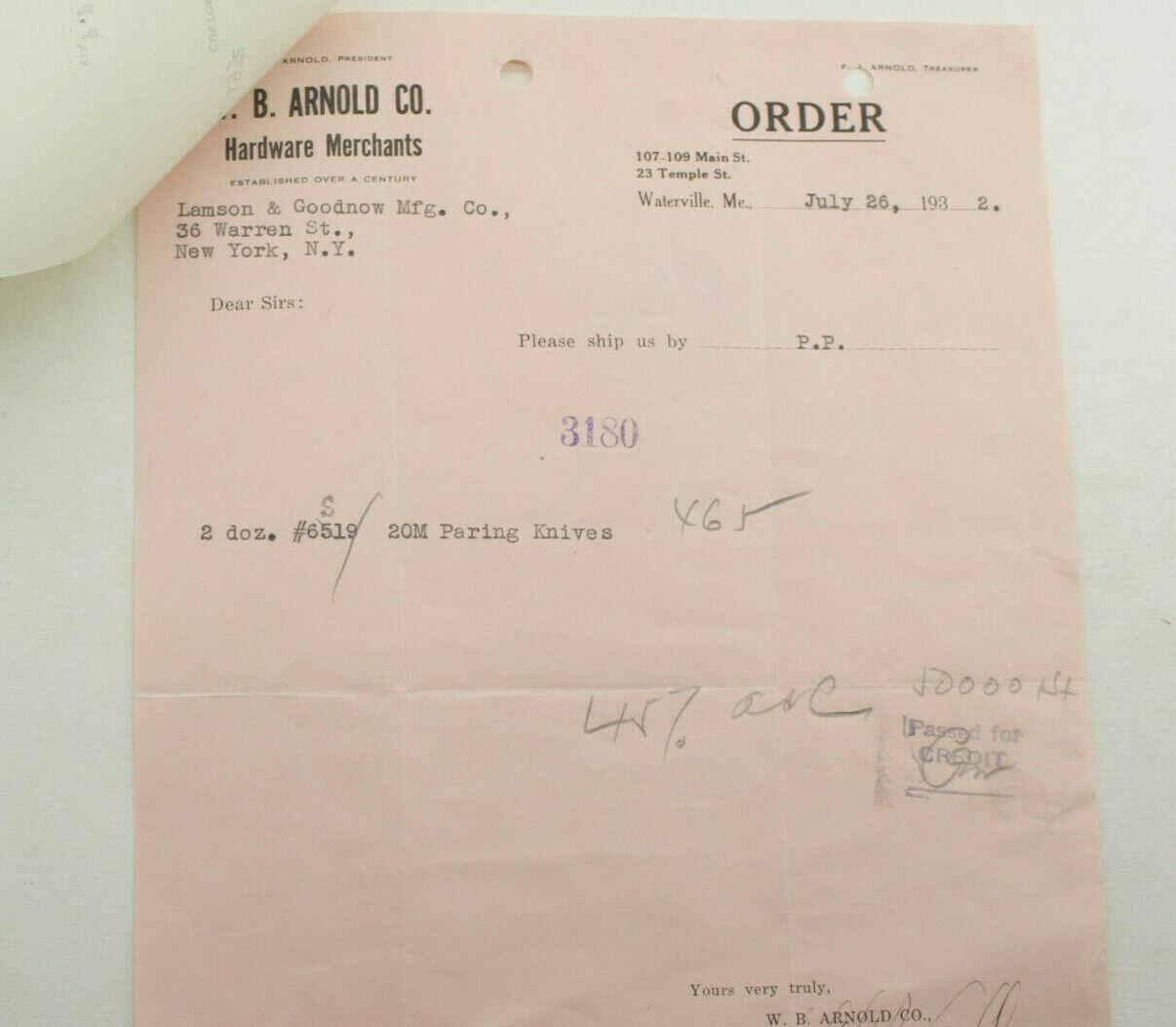 1932 Lamson Goodnow W B Arnold Co Waterville ME Paring Knives Ephemera P1505B