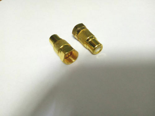 50PCS lot  RCA female to F Plug male TV coax adapter for CCTV Gold plated