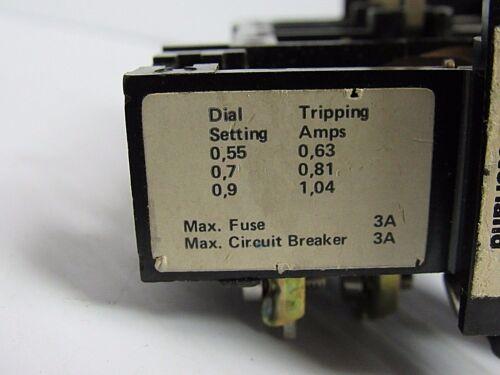SPRECHER /& SCHUH OVERLOAD RELAY CT 1U-10 CT1U10 .63-1.04 TRIPPING AMPS