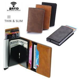 Leather-Credit-Card-Holder-Money-cash-Wallet-Mens-Clip-RFID-Blocking-Purse-AU