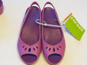 06d2a56e7b8 Womens crocs mabyn mini wedge wild orchid RARE sandal shoe W 10 ...