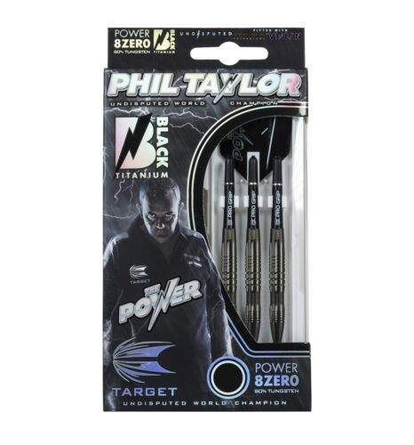 Phil Taylor Power 8Zero Black Titanium Tungsten Darts Set – 22g