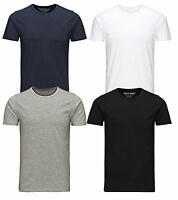 Jack & Jones New Mens Crew Neck Slim Fit T-shirt Stretchy Plain Lycra Cotton Tee