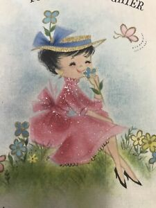 Vintage-Birthday-Card-Hallmark-Glitter-Parchment-Girl-Daughter-Pink-Dress