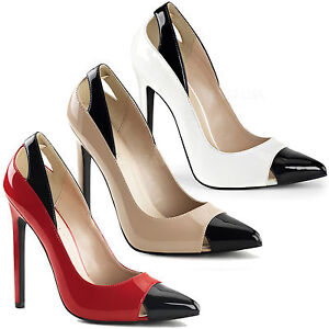 Extravagante Pleaser Damen High-Heels Pumps Sexy-22 schwarz Lack Kontrast 35-45