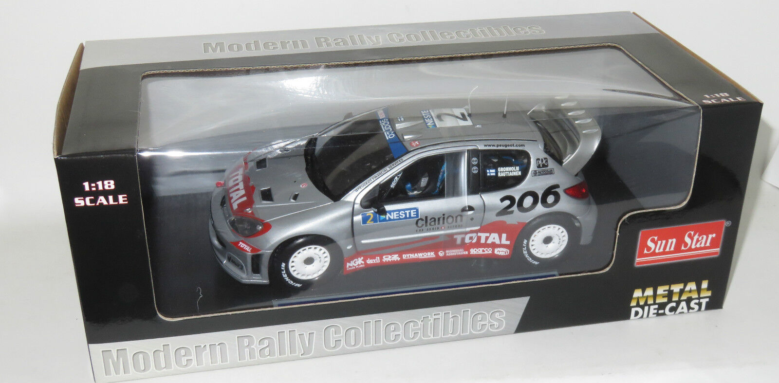 1 18 Peugeot 206 WRC  Total  Rally 1000 Lakes Finland 2002  Marcus Gronholm