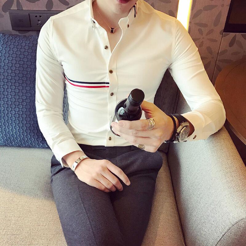 Korean Gentleman Slim Fit Formal Business White Stripe Button T-Shirts Vogue Hot