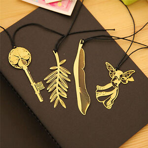 4pcs-Vintage-Key-Feather-Angel-Gold-Metal-Bookmark-Learning-Office-Supplie-XG