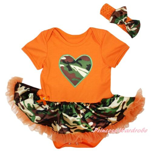 Camo Heart Orange Cotton Bodysuit Camouflage Girl Baby Dress Outfit Set NB-18M