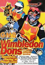Speedway Programme>WIMBLEDON DONS v SHEFFIELD PROWLERS Apr 2003