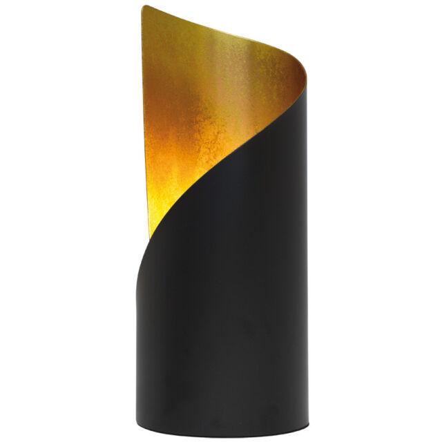 Tischleuchte Nachttischlampe Metall schwarz matt/gold modern H24cm