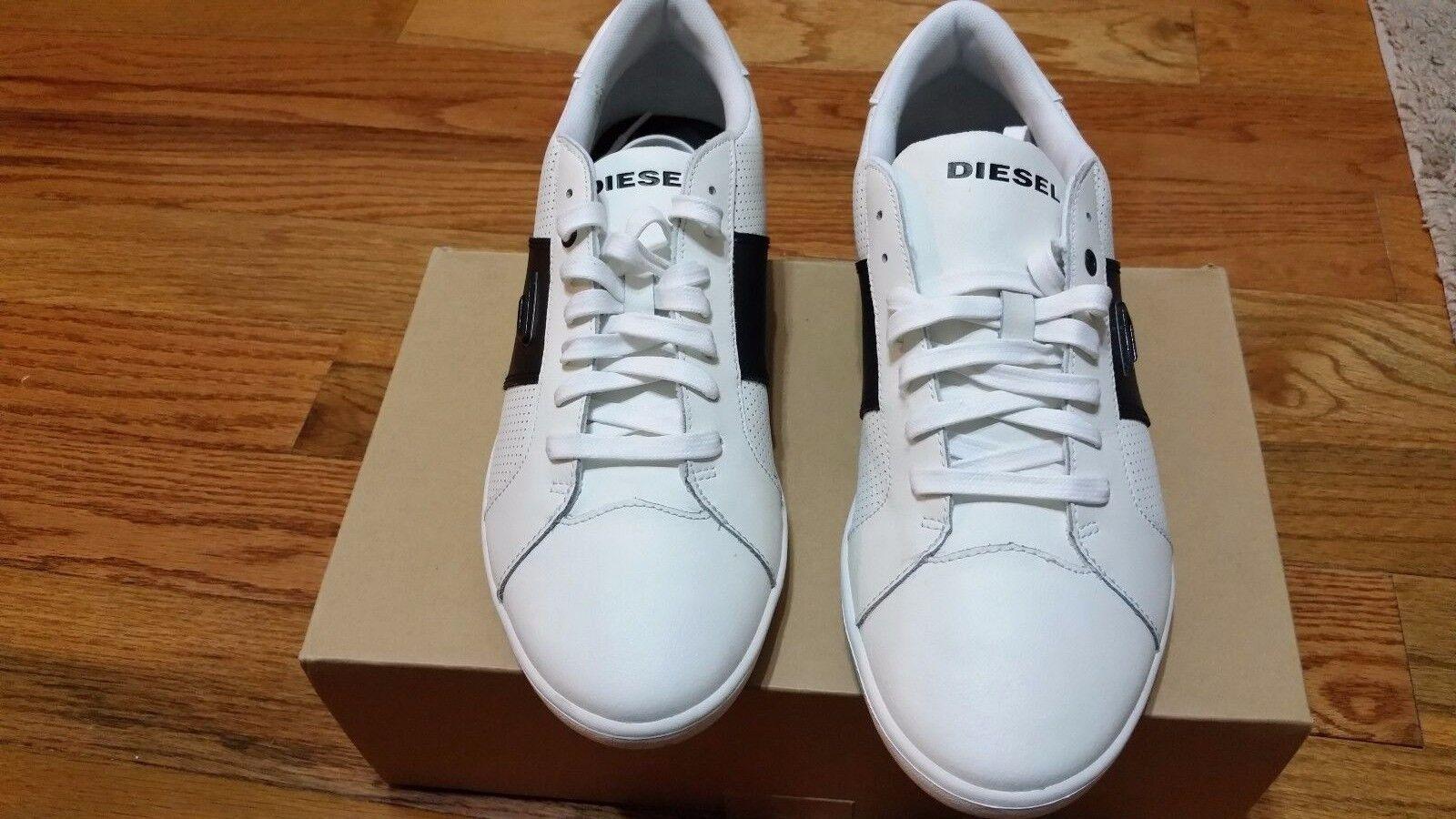 New DIESEL Eastcop Gotcha MEN`S SHOE COLOR  White  BLACK Leather  SIZE12