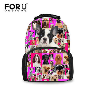Women Fashion Pug Dog Boston Terrier School Backpack Schoolbag Book bag Rucksack