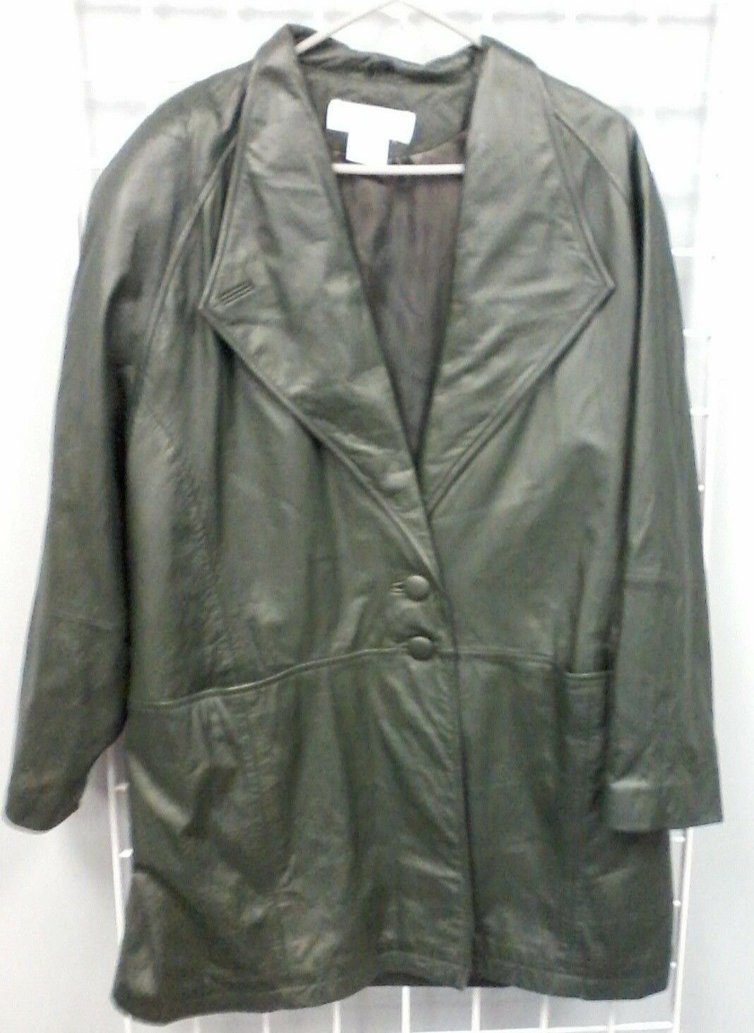 Women's MAGGIE LAWRENCE Size 18 20 Forest Green Two Button Lined Leather Coat
