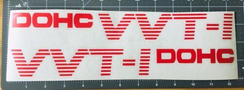 2 x VVT-I DOHC Red stripes 12/'/' x 1.5/'/' car sticker