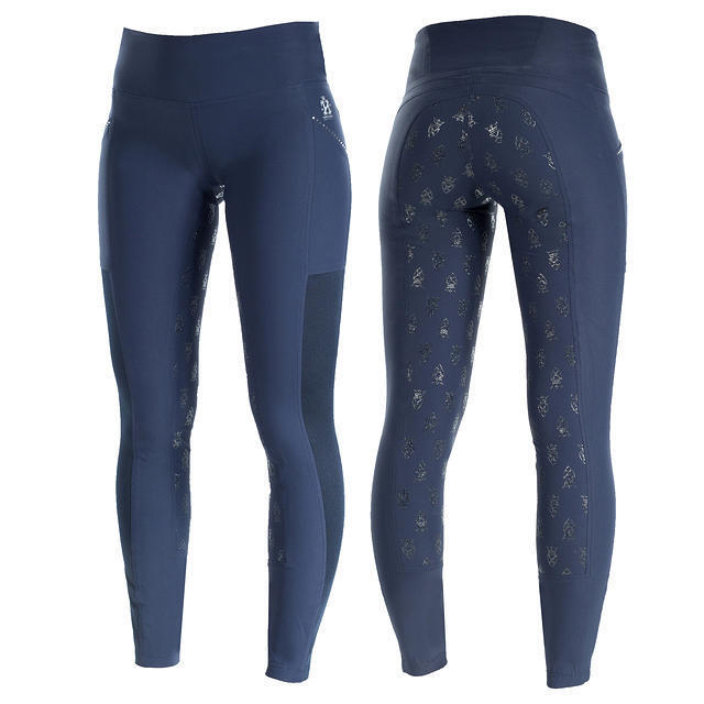 Horze Crescendo Leah  Luxury winter Pull-on Tights - Dark bluee w crystal accents  great selection & quick delivery